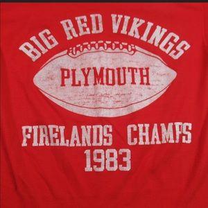VINTAGE 80s Big Red Vikings Football T Shirt 1983